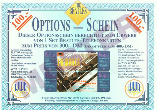 Beatles Phone Cards Equity Warrant 1993