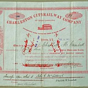 Charleston City Railway Company Stock Certificate 1892