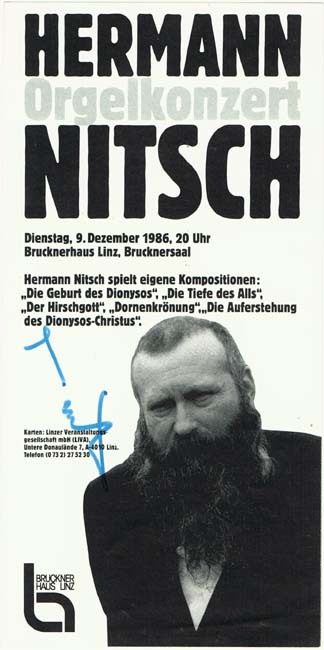 Hermann Nitsch Autograph, signed Program from 1986, CoA