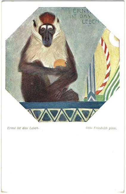 Art Deco Postcard with Baboon. Austrian
