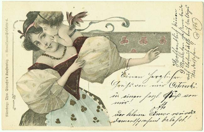 Art Nouveau Postcard Lady and Putto. 1901