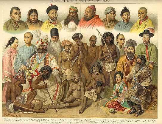 1896: Asian Peoples. Chromo Lithograph, Artist signed