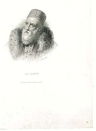 Ali Pasha Turkish Ruler Antique Engraving. 19. Ct