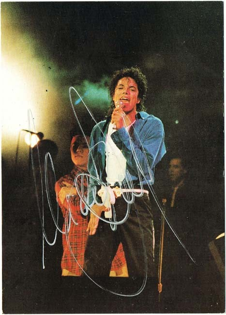 Michael Jackson signed Postcard. CoA