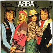 Abba Promo Photo signed by all 4 Musicians. CoA