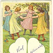 Happy Pentecost: Vintage Litho Postcard with dancing Girls. 1902