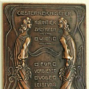 Art Nouveau Bronze Plaque from Austria