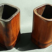 Two Chinese Brush Pots. Elegant Bamboo Containers