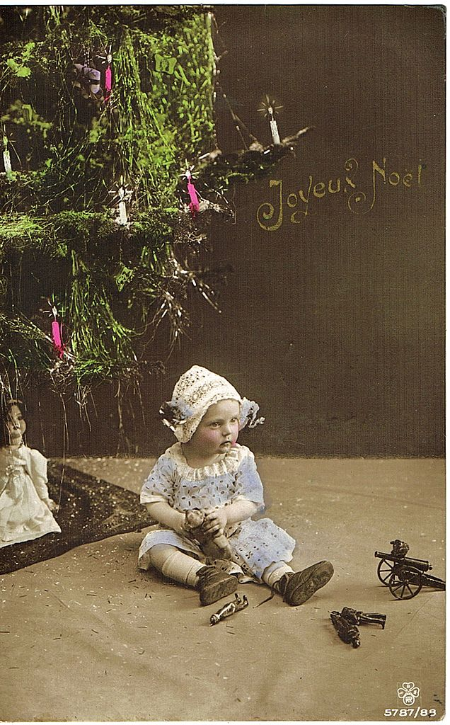 Girl with Doll. Vintage Photo Postcard 1918