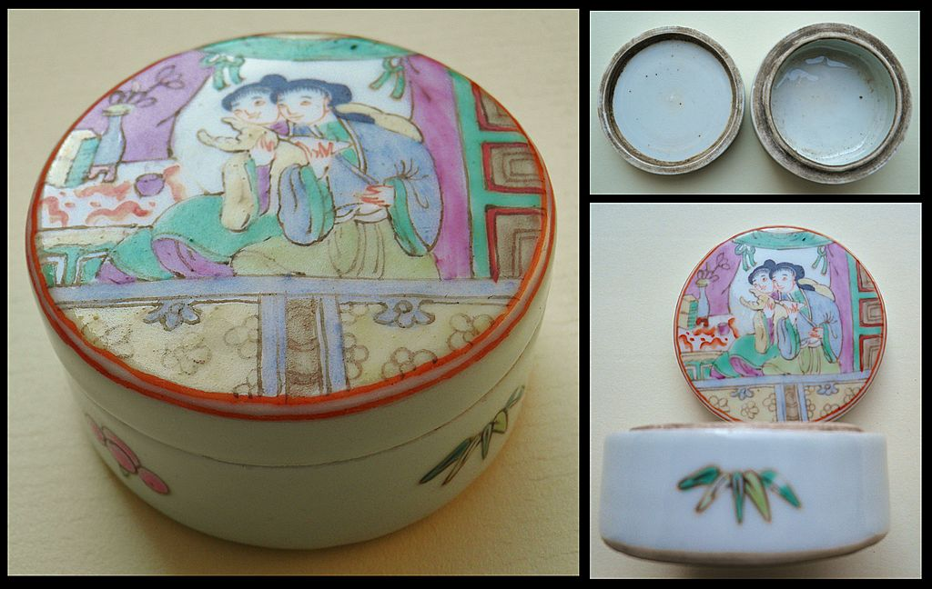 Old China Porcelain Box with Concubine