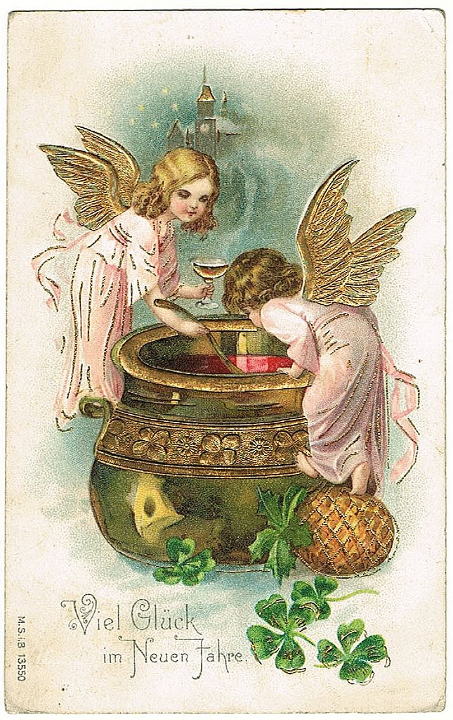 New Years Vintage Postcard with little Angles