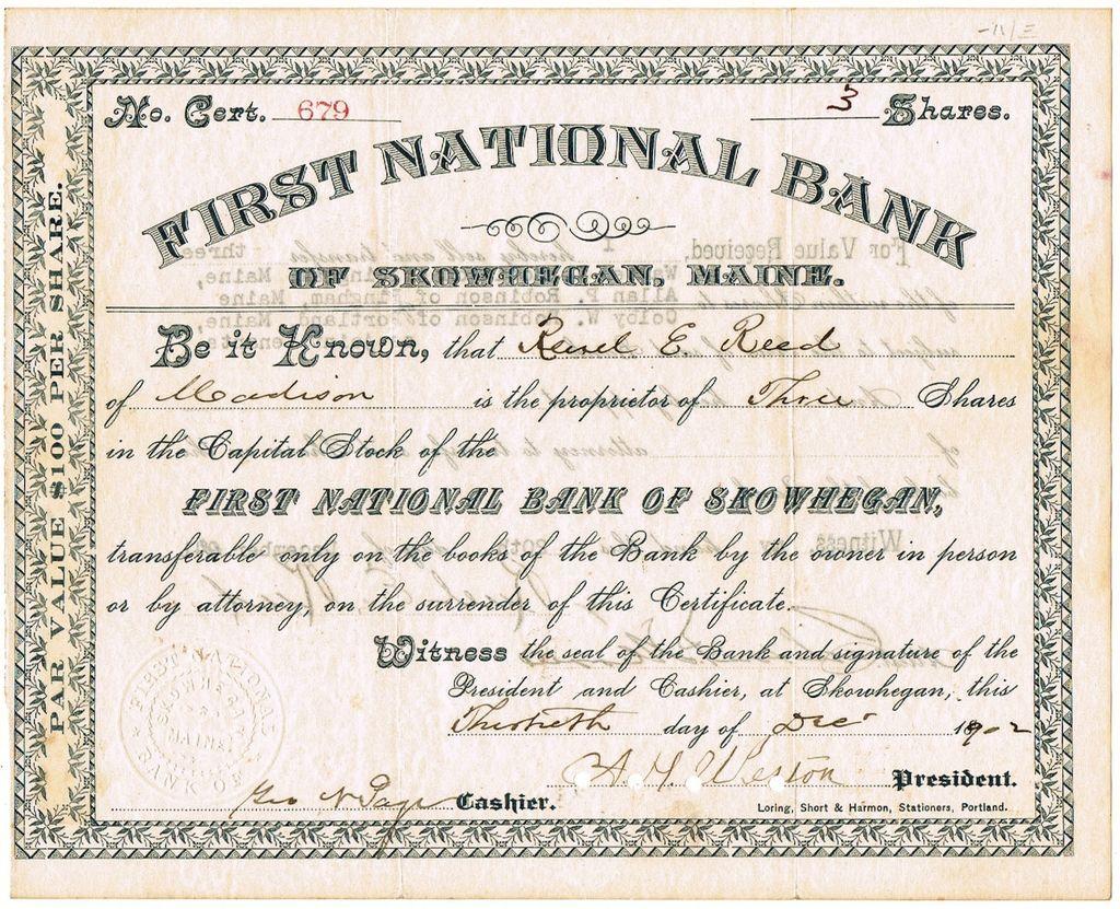 First national bank of skowhegan bank antique stock certificate first national bank of skowhegan bank antique stock certificate 1902 xflitez Gallery