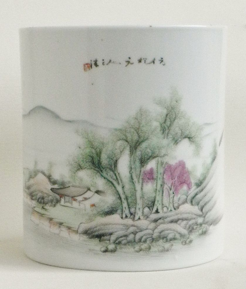 China Brush Pot, Republic Period, Famille Verte