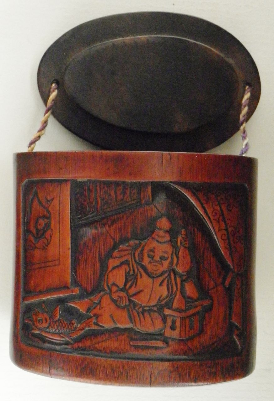 Antique Japanese Inro with Man and Fish Motif. 19. Ct