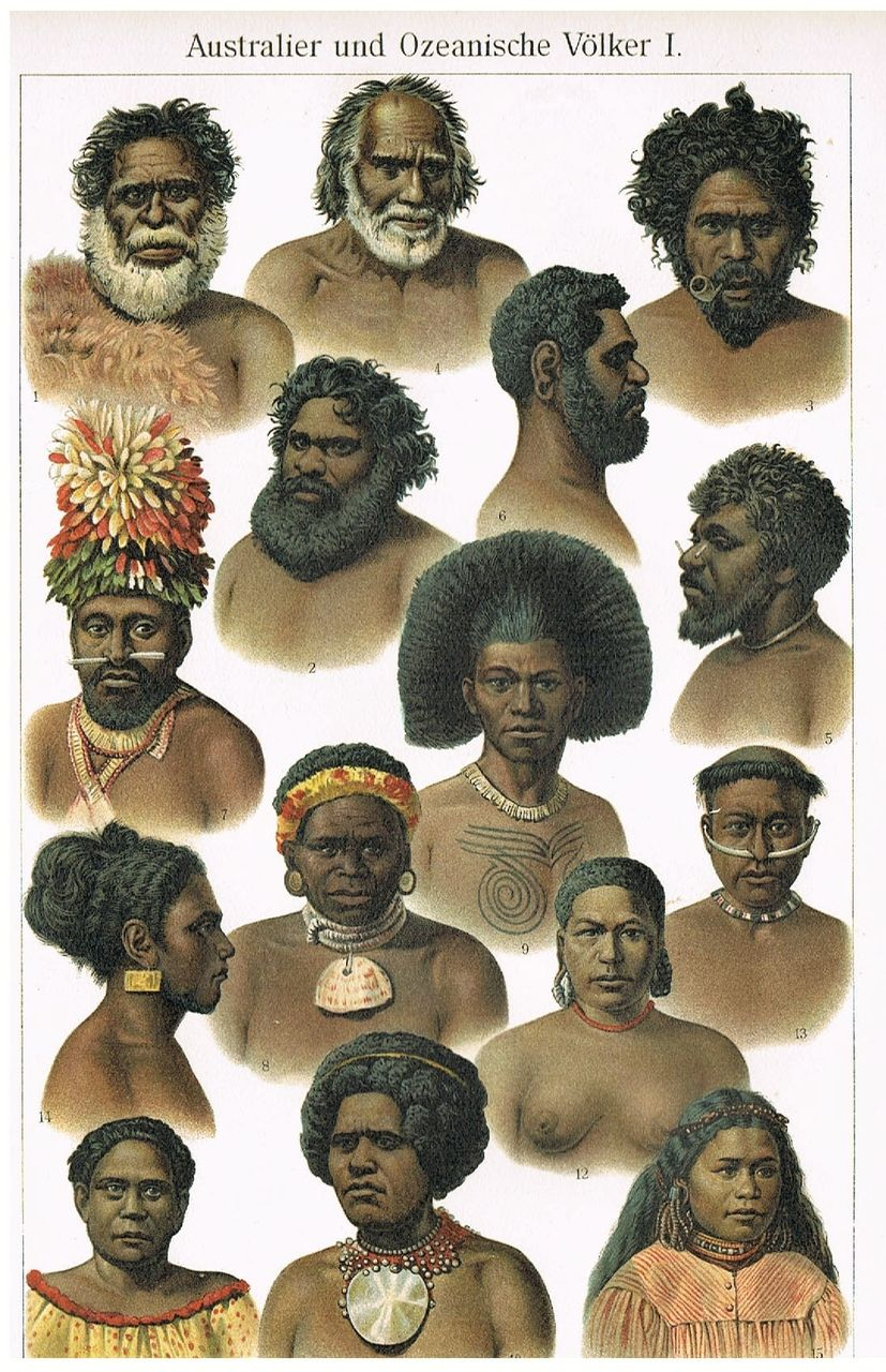 Australian Peoples: 2 Antique Lithographs from 1902