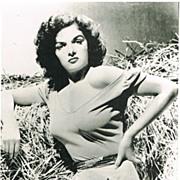 Jane Russell Autograph on Vintage Photo Print. CoA