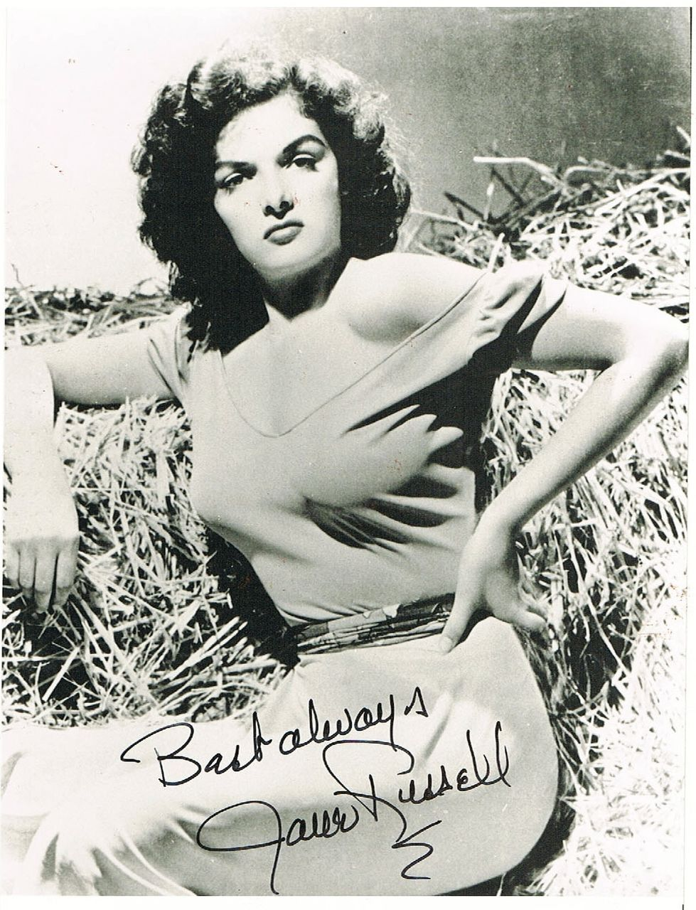 Jane Russell Autograph on Vintage Photo Print. CoA