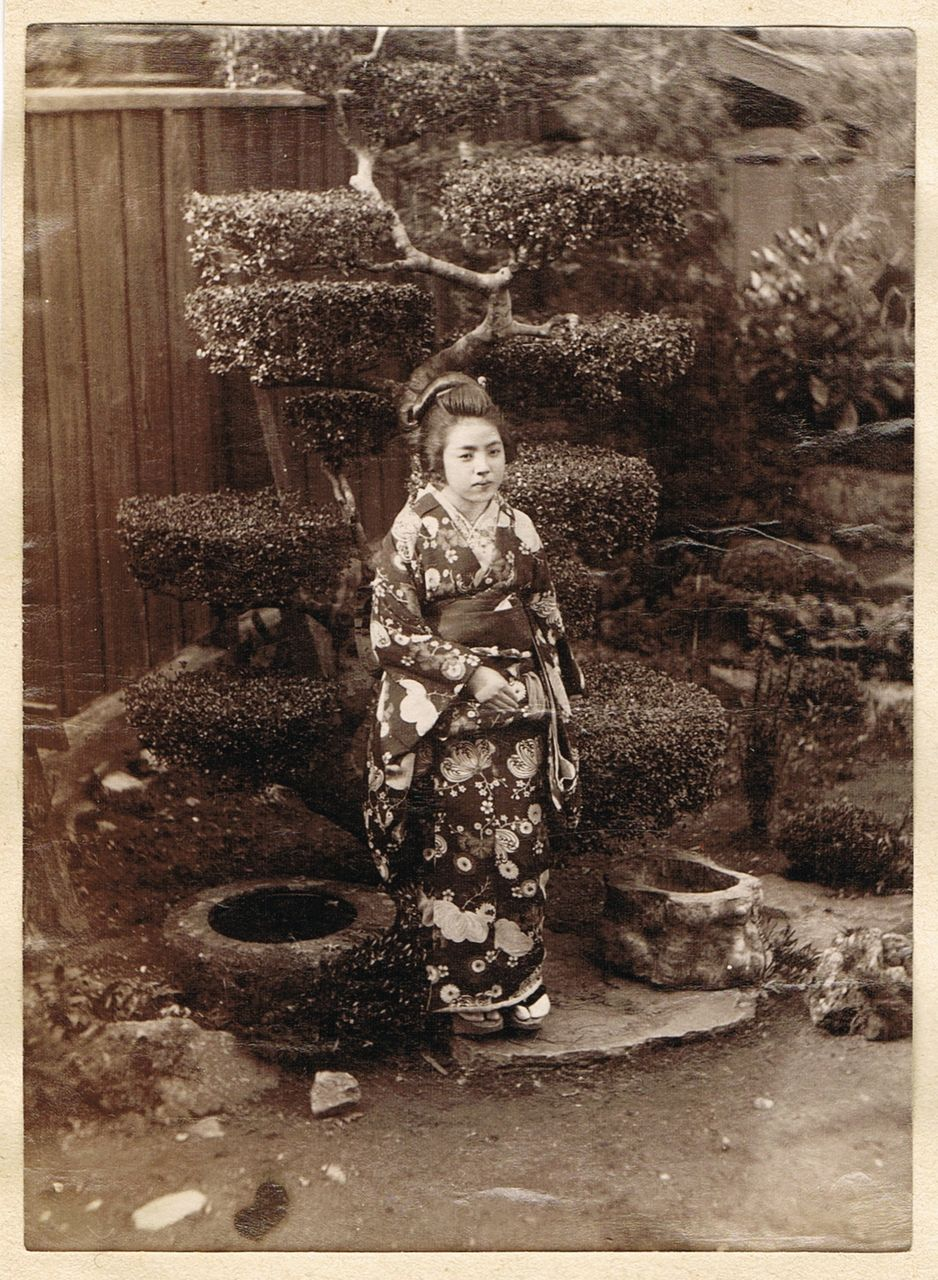 Japanese Girl in Garden. Albumen Photo. 1880s