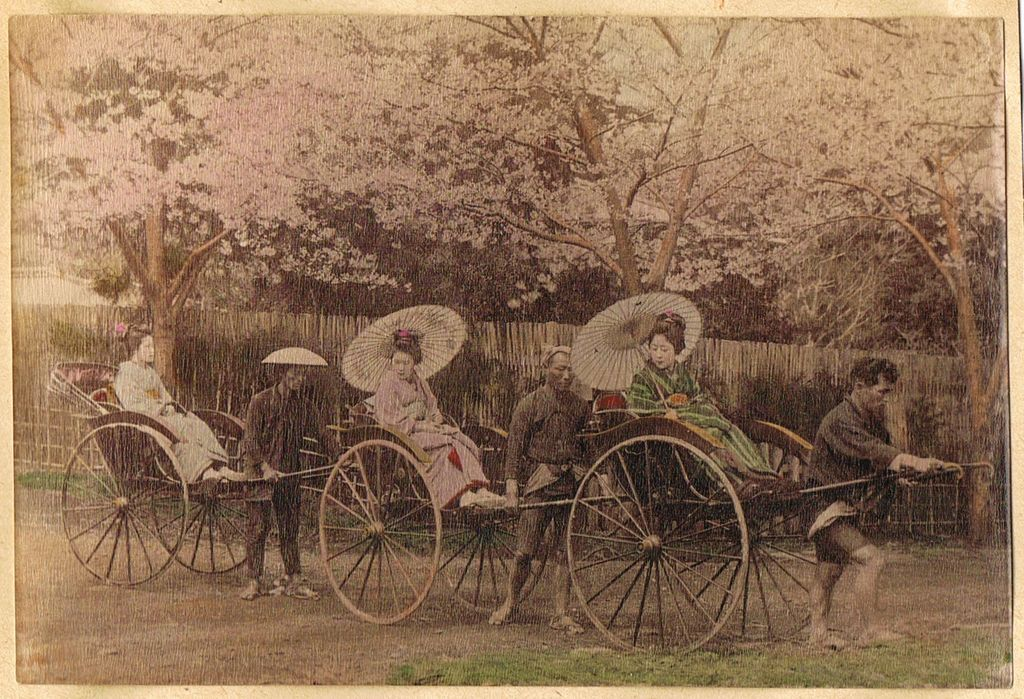 Japanese Girls in Rickshaws. Albumen Photo. 1880s
