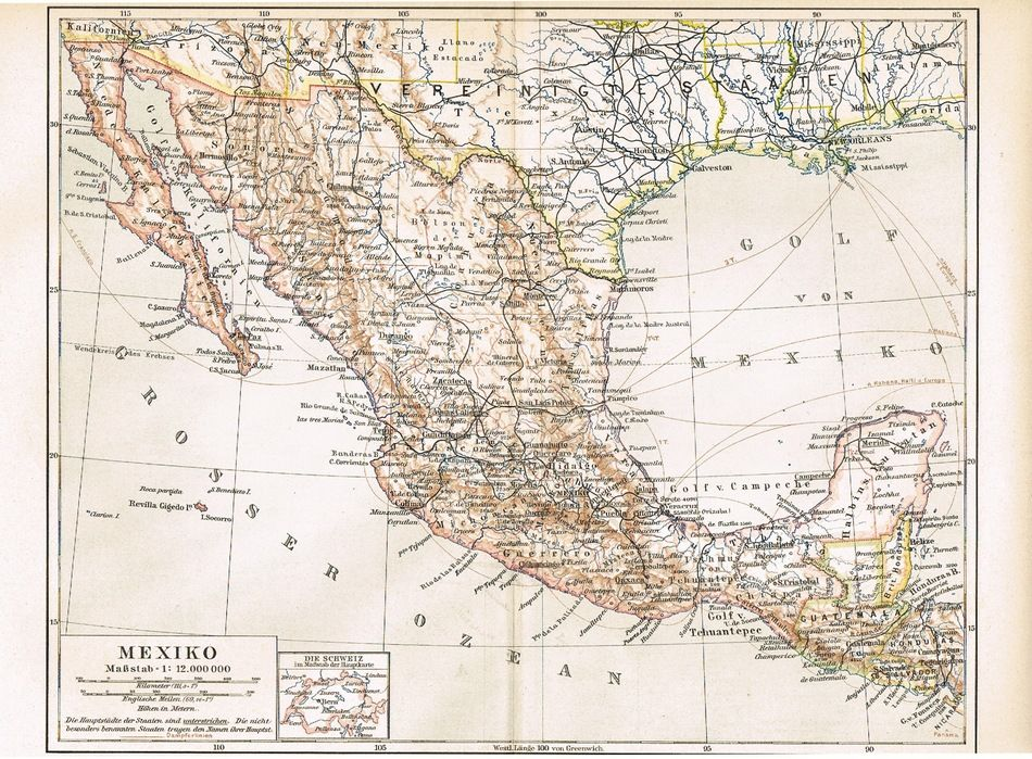 Old Mexico Antique Map From 1900 Curioshop On Ruby Lane: Old Mexico Map At Infoasik.co