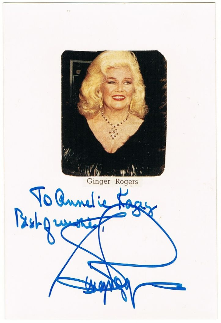 Ginger Rogers: Authentic Autograph CoA.