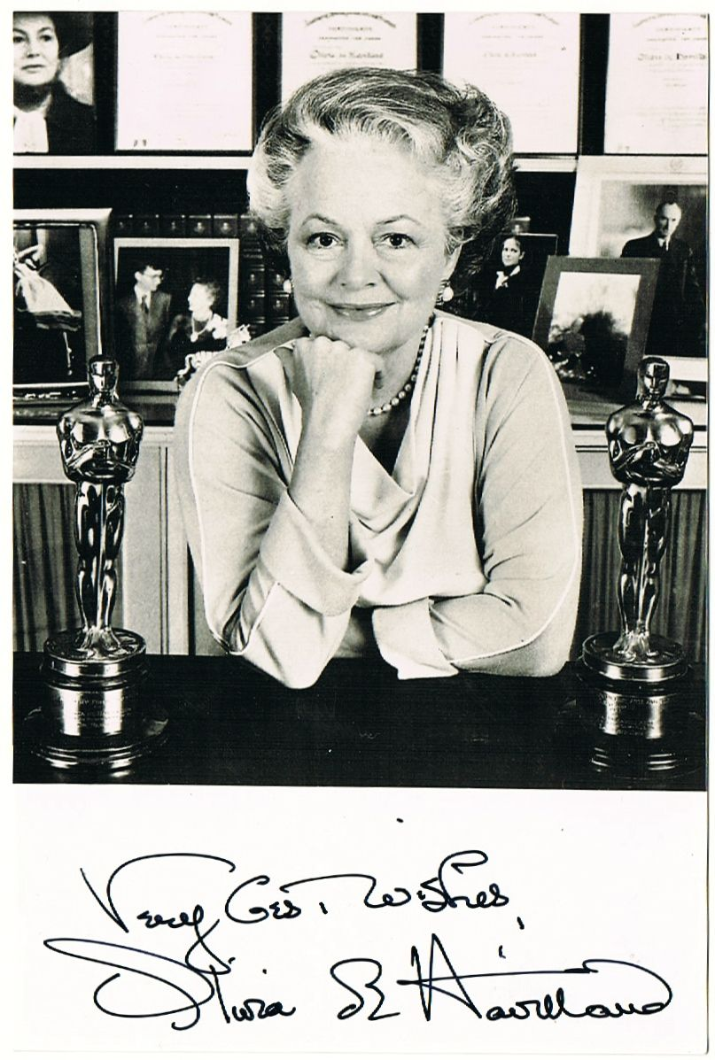 Olivia de Havilland Photograph with Authentic Autograph. COA
