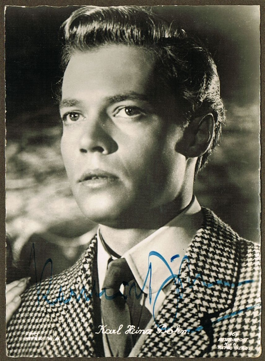 Early Autograph by Karl Heinz Boehm - Sissi Actor. CoA
