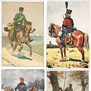 4 vintage Postcards with Cavalrymen