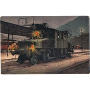 Simplon Locomotive Postcard as Mobile Post 1912