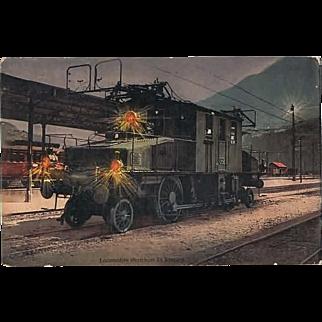 Simplon Locomotive Postcard as Mobile Post 1912