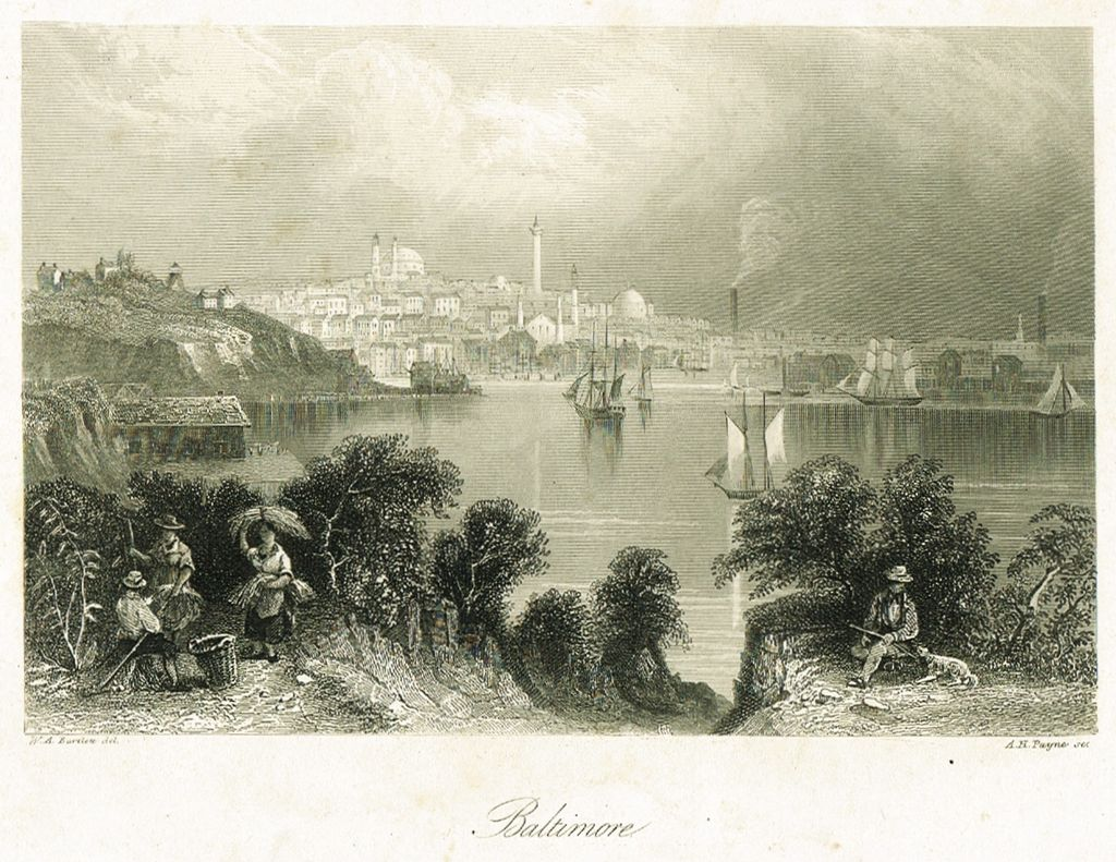 Baltimore. Antique Etching A. H. Payne