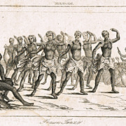 Hawaii Antique Etching with Dancers. 18. Ct