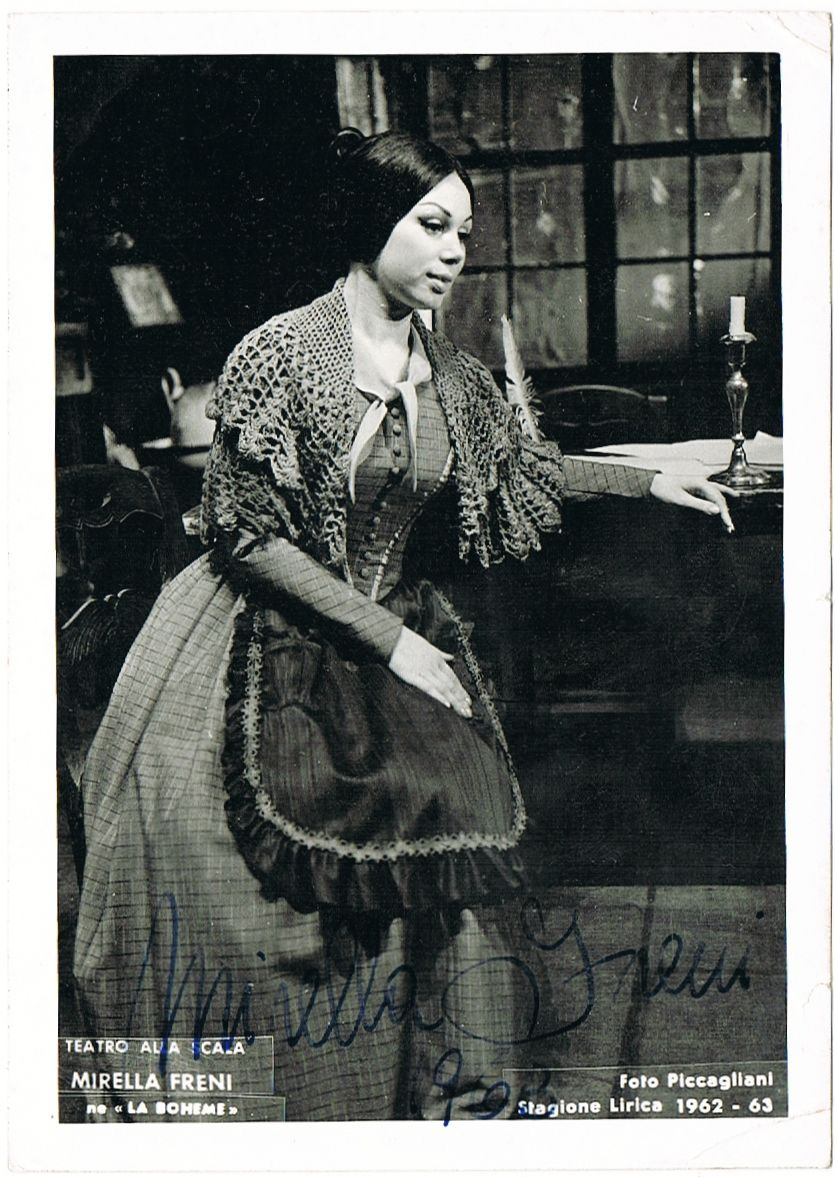 Mirella Freni Autograph from 1963. Hand Signed La Scala Photo, CoA