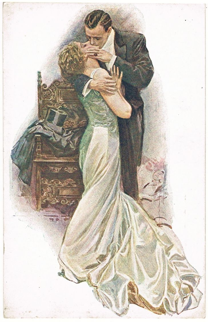 Harrison Fisher Postcard From Finland The Kiss Collect