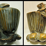 Old Chinese Box Wood Toggle Frog and Lotus