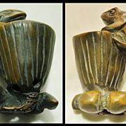 Old Chinese Box Wood Toggle Frog and Lotus
