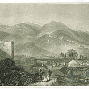 Jericho. Antique Etching from app. 1840