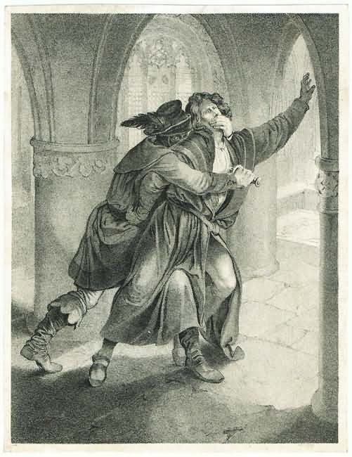 Antique Engraving, Scene in a Cathedral.