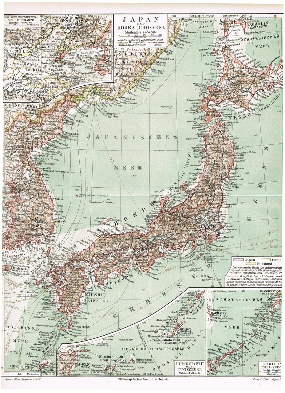 1898: Old Map from Japan and Korea