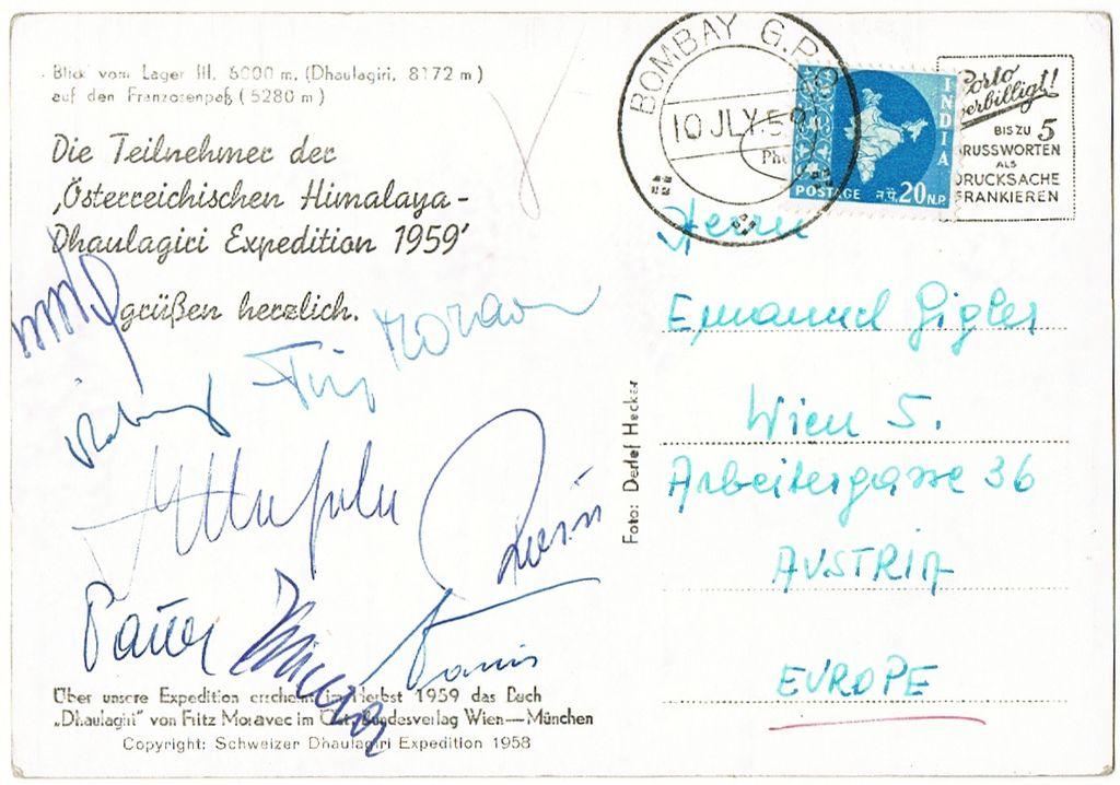 1959: Austrian Himalaya Expedition. Morawetz Autograph
