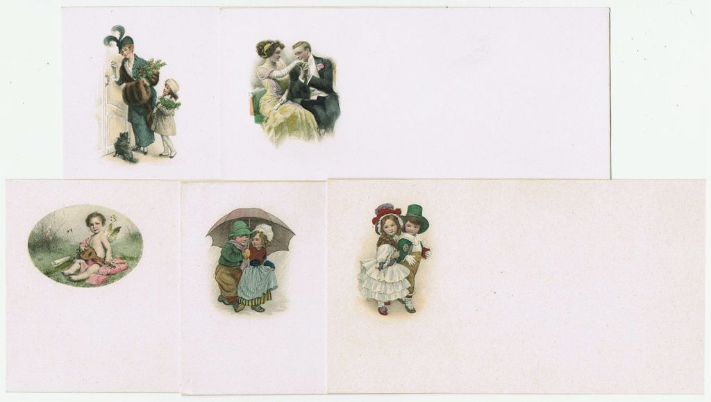Old Stationary: 5 lithographed Cards and Envelopes