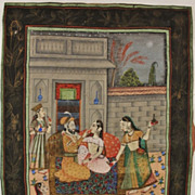 Old India: Painting an Fabrics. Scene with Lovers in a Temple