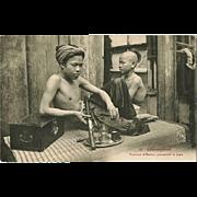 Opium Smoker in Indochina. Vintage Postcard