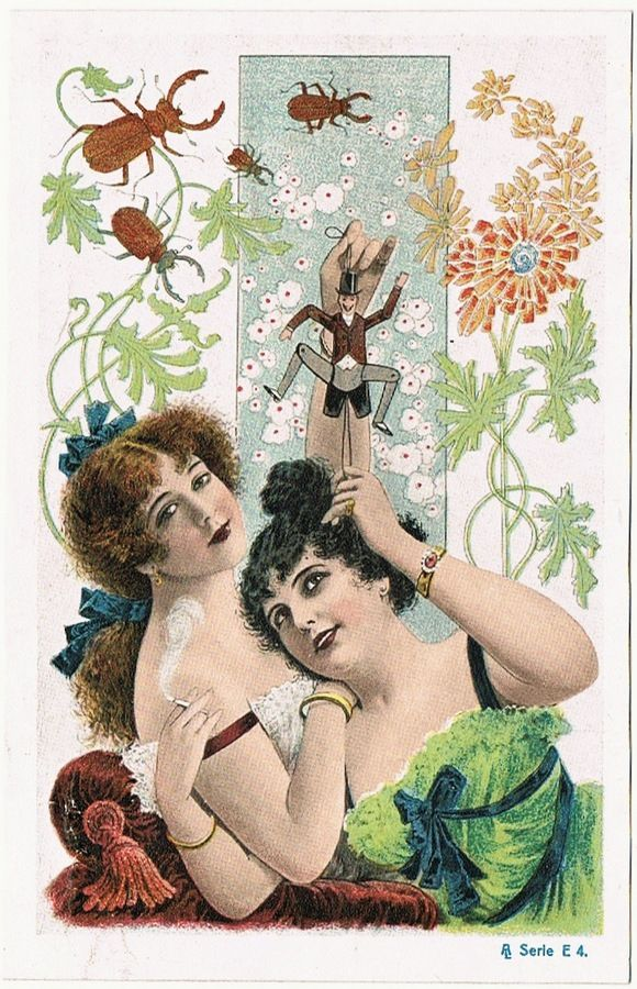 Art Deco Postcard with two Ladies, one smoking.