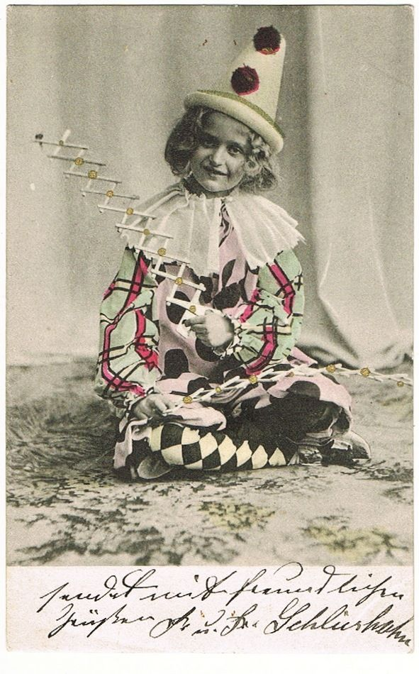Little Girl as Clown. Vintage Postcard