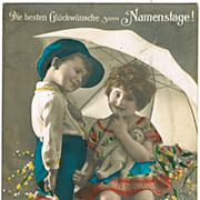 Kids with Teddy Bear. Vintage Postcard 1928