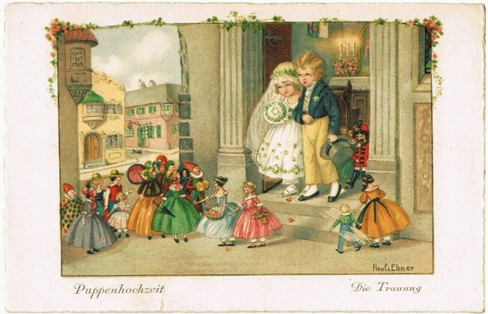 Two Pauli Ebner Postcards. A Doll's Wedding