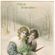 Merry Xmas. Tinted vintage Postcard from 1911