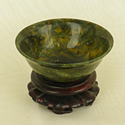 Small Moss Agate Bowl with vivid Texture, well carved.