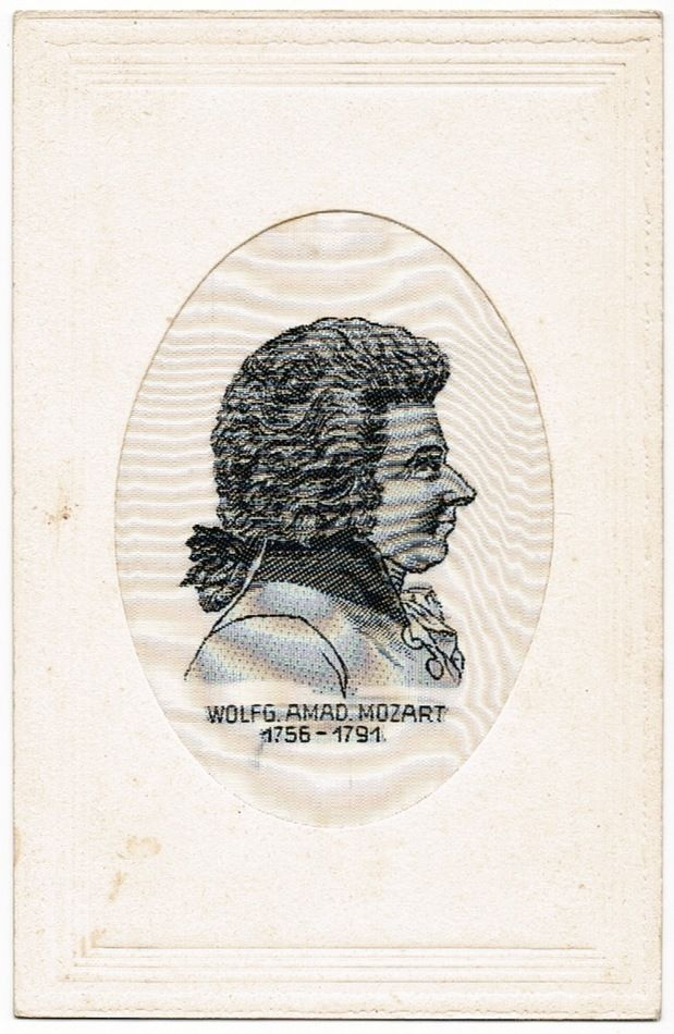 Vintage Postcard with Mozart Silk Stitchery